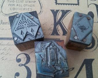 Set of Three Vintage metal and wood block printing stamps