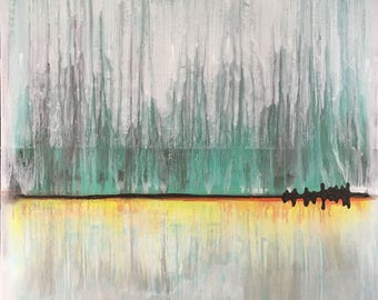 Storm On The Horizon Abstract Original Painting By Artist Rafi Perez Mixed Medium on Canvas 30X30