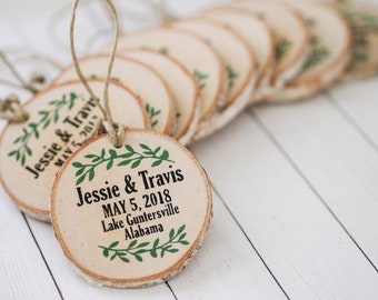 Personalized Wedding Birch Wood Slice Ornaments or Magnets - Unique Rustic Wedding Favors, Set of 10, Save the Date Magnets Wood Slices