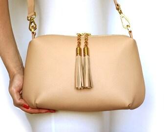 Free shipping! Beige leather bag, powder bag, shoulder bag, beige crossbody, crossbody bag, beige purse, pink purse, leather handbag