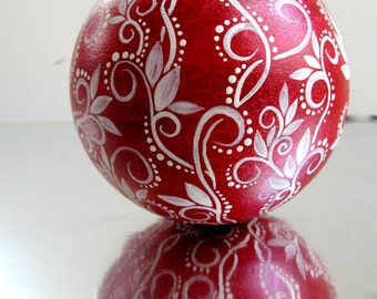 Red and White Christmas Ornament Hand Painted Glass Ornament
