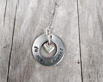 Hand Stamped Tu Me Manques Washer Necklace