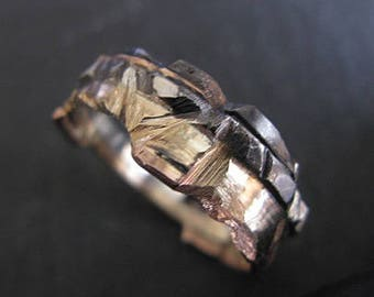 Unique Mens Wedding Band 14k Gold Ring Rustic Mens Wedding Band Rose Gold Wedding Ring Multimetal Mens Ring Artisan Distressed Viking Ring