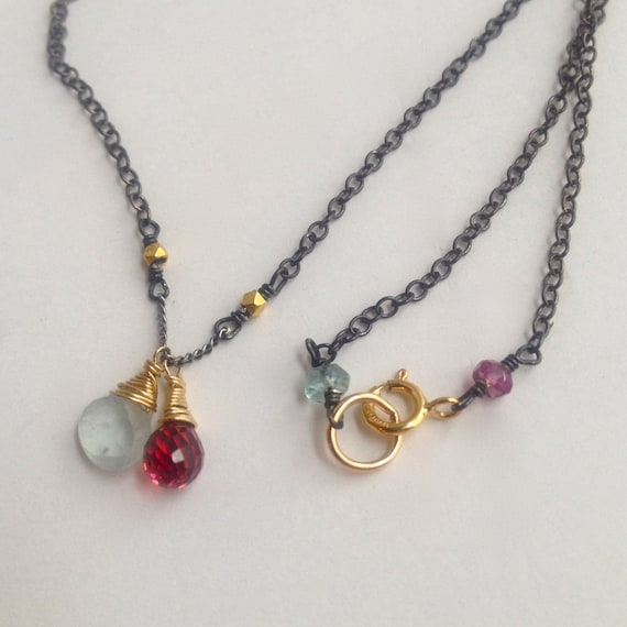 Birthstone Briolette Necklace / Gemstone /18K Gold Beads / Sterling Silver Chain / Custom Jewelry / Personalized / Birthstone