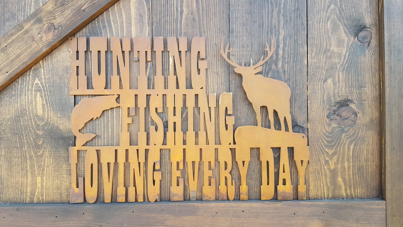 Metal Hunting and Fishing Sign, Hunting Fishing Decor, Woodland ...