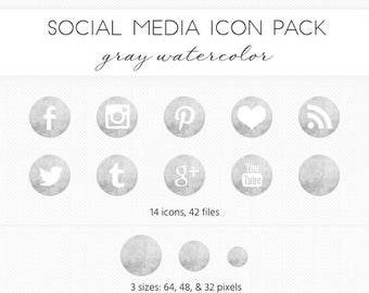 Social Media Icon Set, Gray/Ink Watercolor