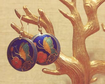 Vintage Butterfly Cloissonne Earrings