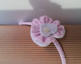Hairband white-pink squares, hearts and button