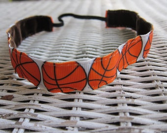 Basketball Headband - Sports Headband - Girls Headband - Adult Headband - Adjustable Headband - Basketball Gift - Basketball Team Headbands