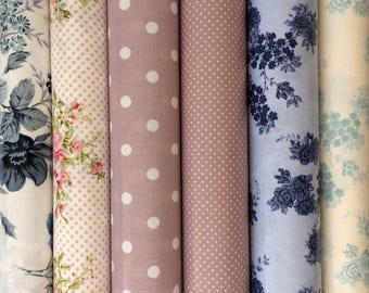 Coated fabric, 6 coupons oilcloth, pink and blue floral motifs, 25 X 70