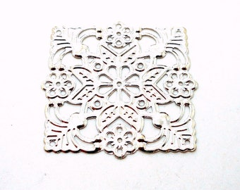 Silver metal square filigree print