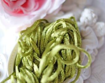 Color Chartreuse Green-Silk Chenille - Silk Chenille- France Chenille-Caterpillar for Embroidery-Chenille Thread