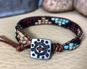 Southwestern Style Bead Leather Wrap Bracelet