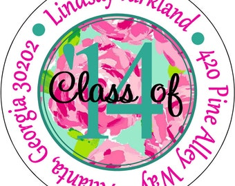 Gradutation Rose pattern Round Address, Graduation Favors, Gift Tags, Birthday Labels Peel and Stick Labels