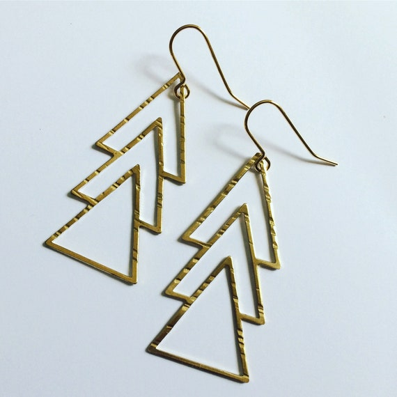 Triple Raw Brass Triangle Long Earrings - Art Deco - Gypsy - Geometric - Statement - Drop - Gold - Boho - Bohemian - Minimalist