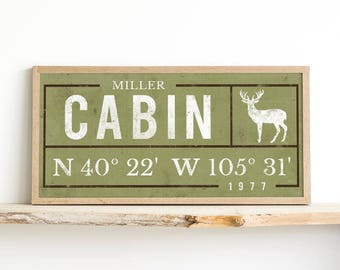 Coordinates - Latitude Longitude - Housewarming Gift - Established Print - Cabin Decor Ideas - Custom Cabin - Log Cabin Sign Decorations