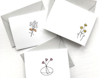 Flower note card set, daisy card, flower stationery, tulip card