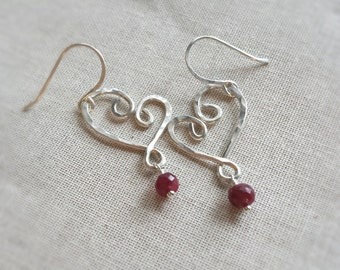 Sterling Silver Valentine Heart and Ruby Earrings: Genuine Faceted Ruby Rondelles Dangle from Handmade Hammered Valentine Wire Hearts Gift