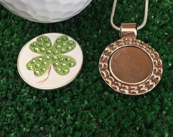Good Luck 4 Leaf Clover - Golf Ball Marker and a Necklace - Sparkling Ballmarker - Golfing Jewelry Beauty  'on & off' the Course Spring 2018