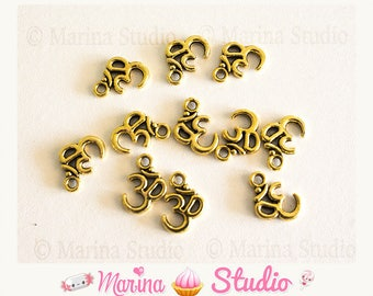 10 charms of om (ohm) metal gold, Golden 16x11mm