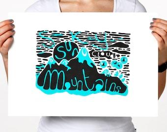 Sun, Sky, Mountains Silkscreenprint