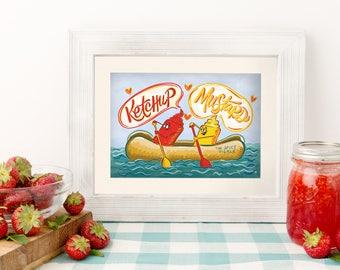 Ketchup und Senf 5 x 7 Küche Druck - lustige Haus - Hot-Dog-Kunst - Ketchup Senf Thema - beste Freundgeschenk - ich liebe Ketchup - lustige Kunst