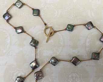 Pretty Necklace with Little Abalone Squares
