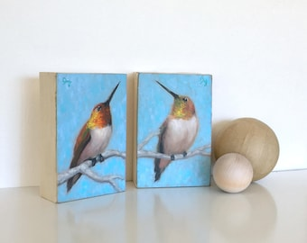 2 Piece Original Oil Painting - Hummingbird Pair - 4x6 inches on 1.5 inch cradled panel