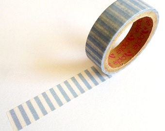 Blue Stripe Washi Tape 5m, pretty masking tape, cute stationery gift, blue craft tape, planner supplies scrapbooking, gift wrapping tape