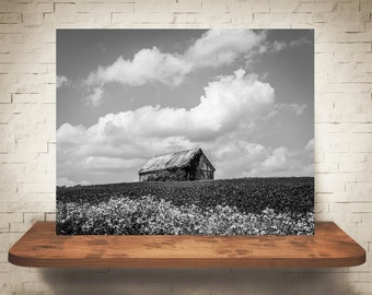 Barn Photograph - Fine Art Print - Black & White Photography - Landscape Wall Art -  Farm Pictures - Farmhouse Decor - Clouds