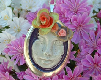 54 * 38 MM PENDANT IS HAND - MOLDED FACE STEAMPUNK