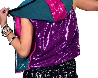 SEQUIN RAVE HOODIE, disco ball waistcoat, edm boomtown festival sgp party coachella burning man drum n bass psy trance festival clothing