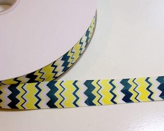 Chevron Stripe Grosgrain Ribbon 7/8 inch wide x 10 yards, Morex Brand Chevron Ribbon, Navy and Lemon Yellow