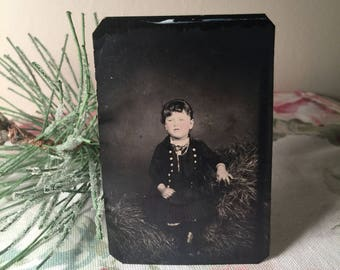 Vintage Tin Type Photo - Young Girl Sitting In Hay