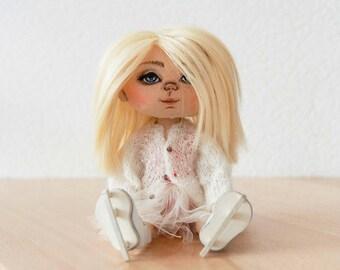 NORDIC BLONDIE SKATER Textile doll Handmade doll Rag doll Gift for her Soft doll Art doll Cloth doll Fabric doll Interior doll Nursery doll