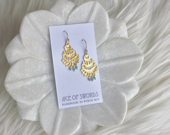 Mela - Gold & Turquoise Earrings