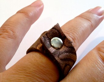 Metallic Leather Ring,Textured Purple and Brown