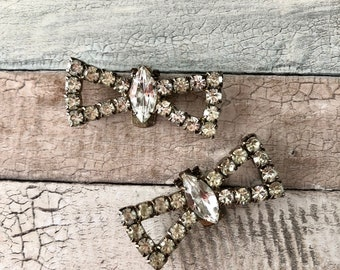 Rhinestone Bow Shoe Clips, made in France, Signed Bluette