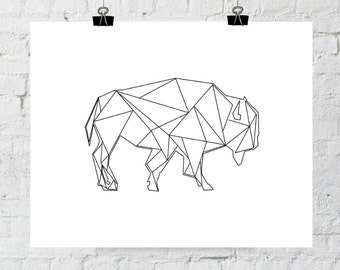 Buffalo Print, Geometric, Modern Print, Buffalo Art, Printable Buffalo, Digital Print, Printable Wall Art, Bison Print, Instant Download
