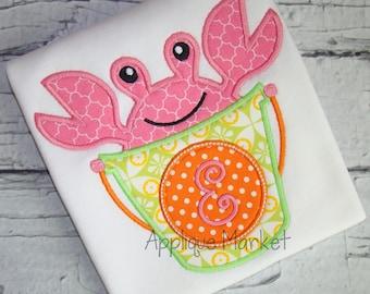 Machine Embroidery Design Applique Beach Bucket Big Crab INSTANT DOWNLOAD
