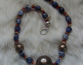 Sodalite and Antique Tibetan Silver Necklace