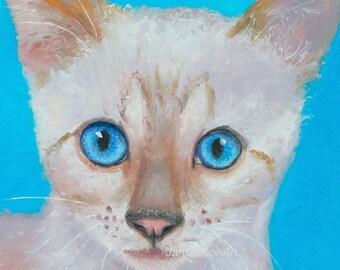 Cat painting, cat art, original oil animal painting, nursery paintings, Snow Bengal, cat artwork, living room art, Etsy art, Jan Matson