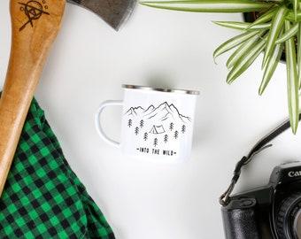 Camping Mug Enamel Mug 'Into The Wild' Campfire Mug Travel Mug  Mountain Mug Camping Gift Women Gift For Him Hiker Gift Camp Mug Coffee Mug