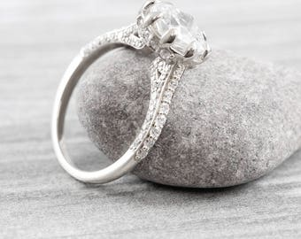Cushion Moissanite and diamond engagement ring handmade in white gold or platinum antique inspired