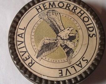 Antique Oddity Medical Tin REVIVAL HEMORRHOIDS Tin / Medicine Rx Pharmacy