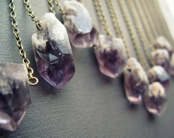 Amethyst Necklace - Healing Crystal Necklace - Layering Necklace - Raw Crystal Pendant - Raw Amethyst Pendant - Purple Amethyst Crystal