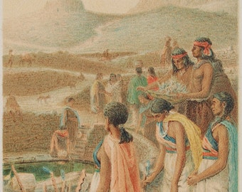 Rare 1892 aquatint by Julian Scoot of a Navajo or Hopi scene from 'The Song of the Ancient People'