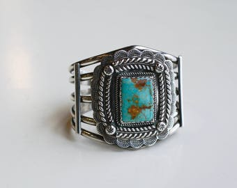 Huge vintage Navajo sterling cuff with green royston turquoise / wide Native American southwest silver bracelet artist signed HH / 95 grams