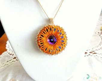 orange blue radiant pendant