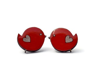 Cute Red Bird Stud Earrings, Wood, Resin, Acrylic Paint, Handmade, Cute, Unique, Birb, Borb, Adorable